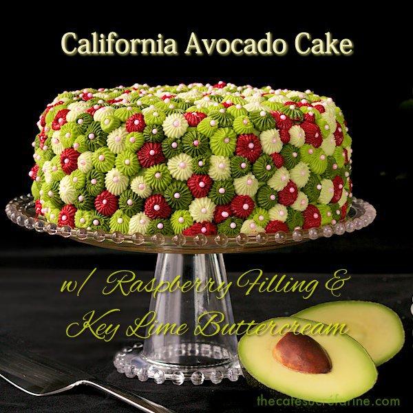 California Avocado Cake w/ Raspberry Filling & Key Lime Buttercream Icing