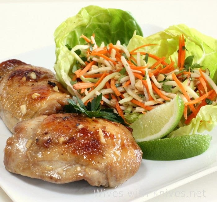 Vietnamese Sticky Chicken with Daikon and Carrot Slaw
