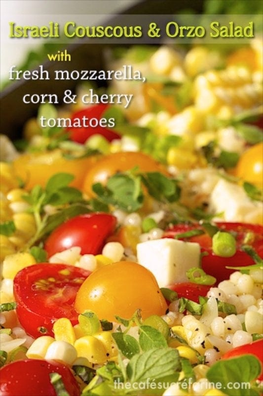 Israeli Couscous and Orzo Pasta Salad - The most delicious pasta salad ever with sweet cherry tomatoes, fresh mozzarella and lots of wonderful fresh herbs. Everyone loves this one!
