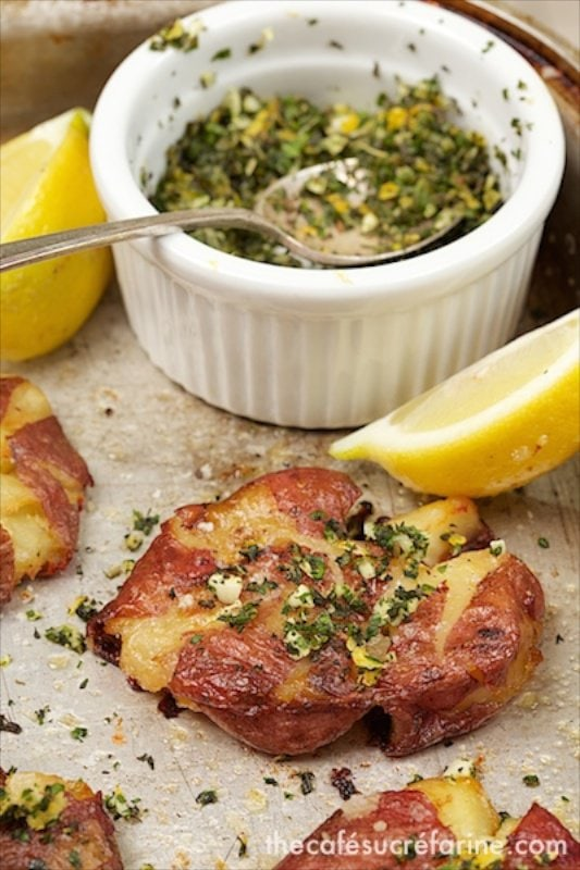 Smashed Potatoes with Fresh Herb Gremolata - These little guys will satisfy the most hearty appetite. The gremolata gives a simple potato amazing flavor!