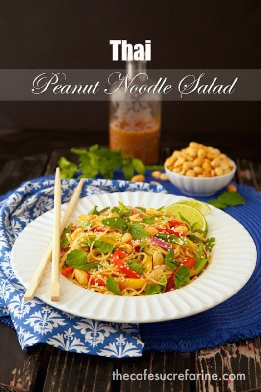 This Thai Peanut Noodle Salad has lots of vibrant Asian flavors exploding with each delicious bite. Super versatile, and super healthy!