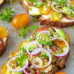 Tomato, Avocado and Fresh Mozzarella Tartines - they are the epitome of fresh! A delightful, French-influenced open-faced sandwich, they are full of flavor!