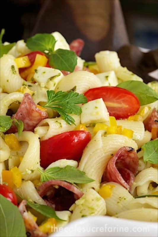 Pesto, Pepper and Sopressato Pasta Salad - perfect for picnics, parties and potlucks!