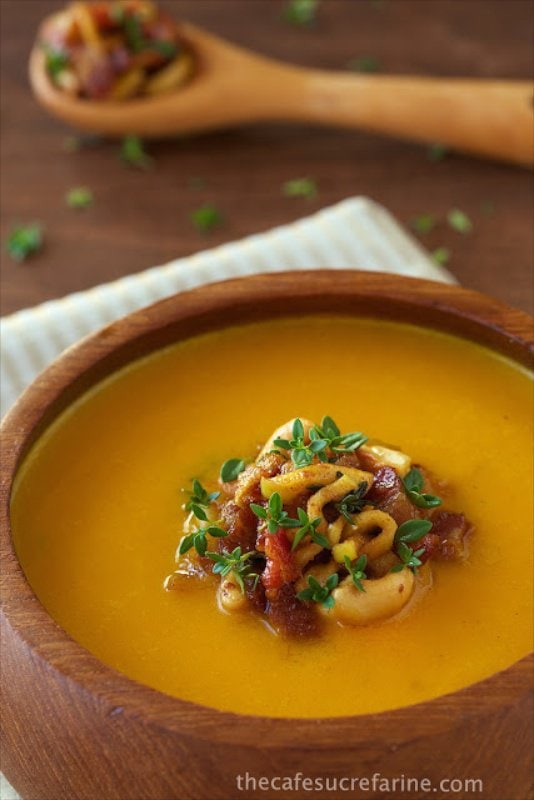 Coconut Curry Carrot and Apple Soup - a delicious soup with lots of fresh produce and tons of vibrant Thai-inspired flavor.
