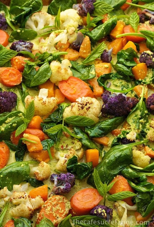 Roasted Veggie Coconut Curry - It looks gorgeous and tastes even better!! Loaded with wonderful veggies and flavor, everyone seems to go crazy over it!