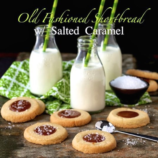 Old-Fashioned Shortbread Cookies with Salted Caramel - a real show-stopper. Delicious, rich shortbread with a decadent puddle of amazing salted caramel.