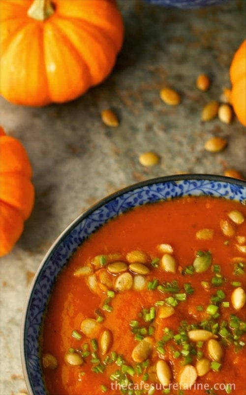 Southwestern Pumpkin Soup - A delicious fall soup with a little Southwestern kick! Loaded with healthy veggies, this is a sure winner!