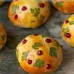 Parsley and Pomegranate Decoupage Brioche Rolls