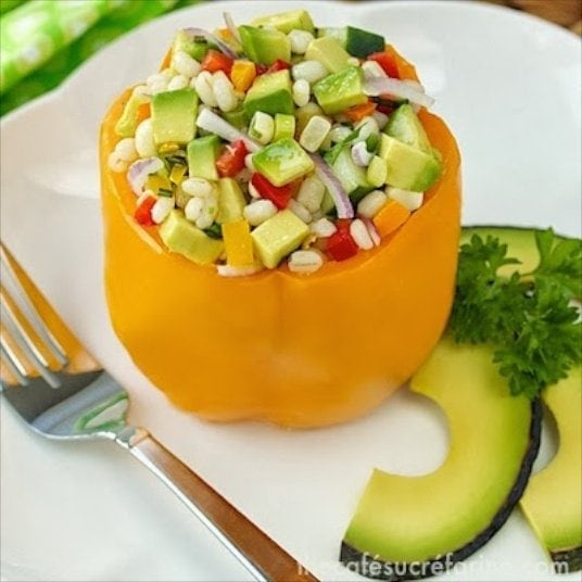 Stuffed Bell Peppers with California Avocados and Barley -  a wonderful, heart-healthy way to enjoy some of your favorite ingredients; all in one delicious dish!