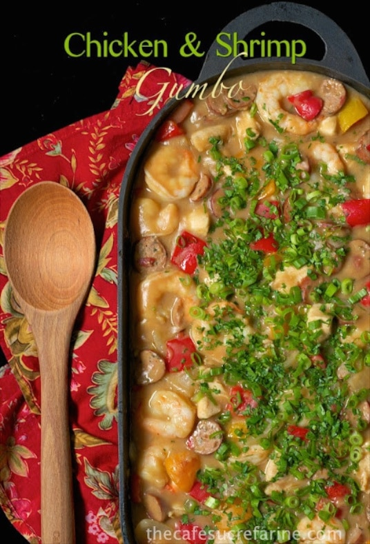 Amazingly delicious and flavorful, this Shrimp and Chicken Gumbo is loaded with shrimp, tender chicken and lots of vibrant veggies. It's such a winner!