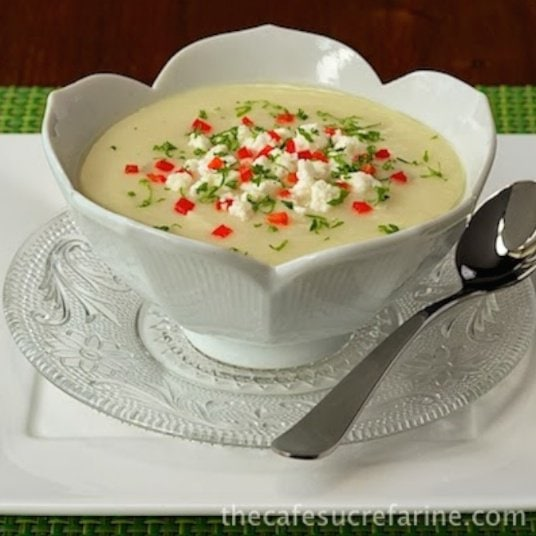 Winter White Velvet Soup - There are a ton of healthy veggies in this delicious soup. A quick blend with an immersion blender and you've got an elegant main course or beautiful appetizer soup.