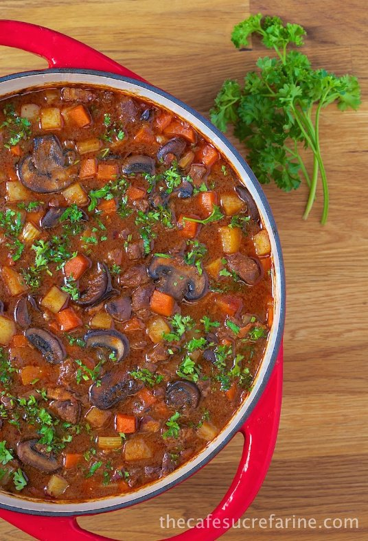Beef Bourguignon Soup - a delicious meal-in-a-bowl, loaded with delicious, tender beef and fresh, healthy veggies. Definitely a Café Comfort Food!
