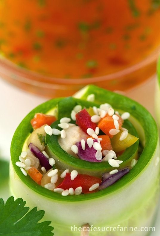 Chopped Asian Chicken Salad Rolls - wonderful for dressing up your next dinner party. Perfect as appetizers or as a side to other Asian foods.