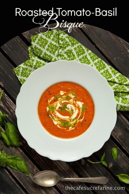 Roasted Tomato Basil Bisque - Roasted (canned) tomatoes and a secret ingredient makes for fabulous, rich flavor. You'll find yourself craving it again and again!