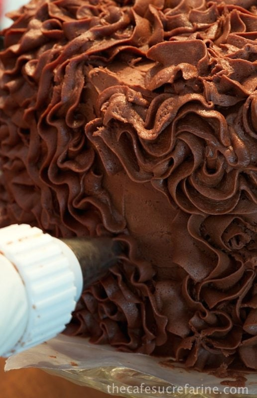 6-Layer Ombre Cake with Truffle-Fudge Icing - this unique and fun cake will take your guests breath away! Practice your bows now, before the rave reviews!