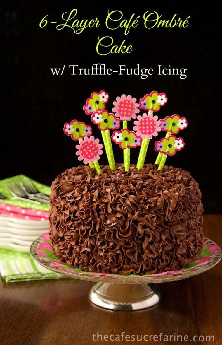 6-Layer Ombre Cake with Truffle-Fudge Icing