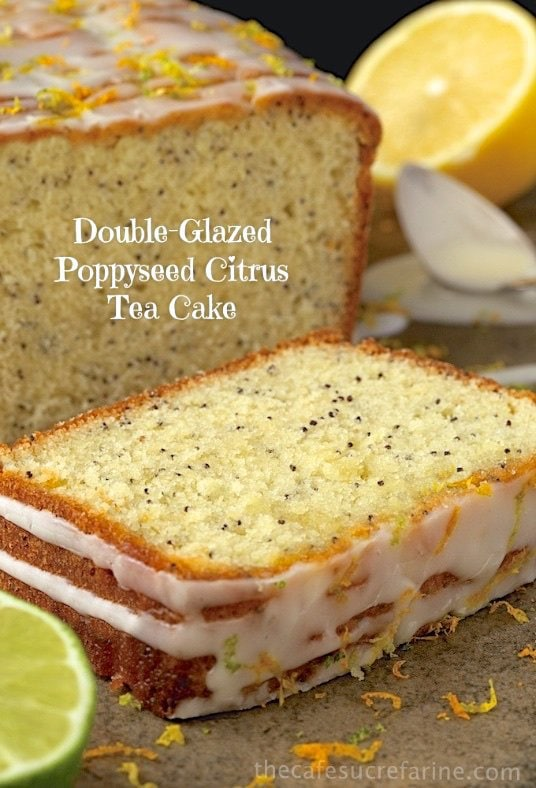 Poppyseed Citrus Tea Cake with double-glazed icing - perfect for snacks, brunch, dessert or just when you hear the call for something citrusy and sweet!
