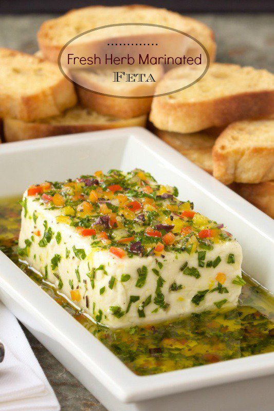 Fresh Herb Marinated Feta - You won't believe how quickly you can create this lovely, flavorful Mediterranean-inspired appetizer.