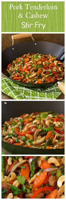 Pork Tenderloin and Cashew Stir Fry is a wonderful main dish with flavorful Asian influence. Collage