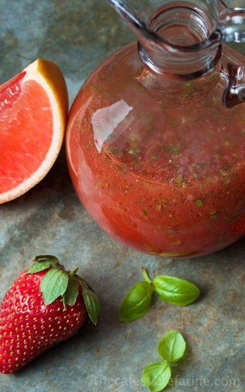 Sweet Basil Vinaigrette with Strawberry and Grapefruit - a delicious, refreshing salad dressing that will put smiles on the faces of your family and guests.