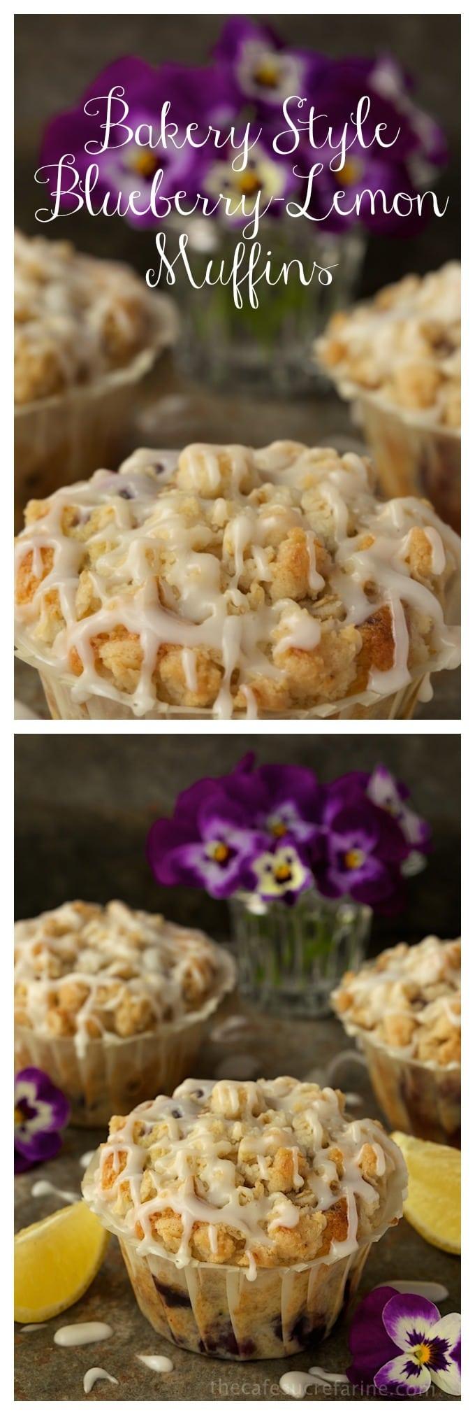 Bakery Style Blueberry-Lemon Muffins