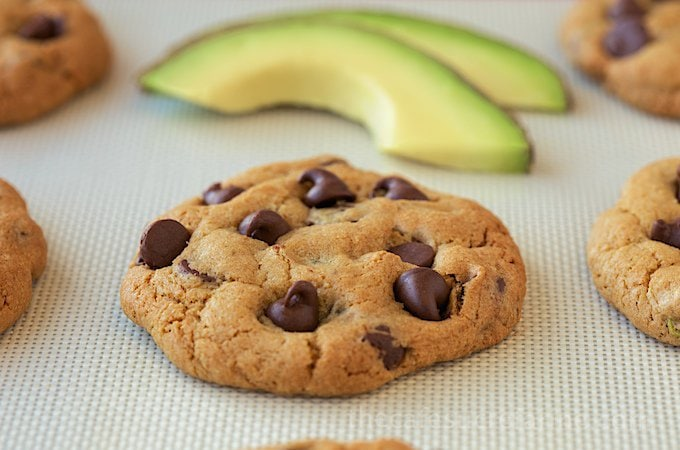 California Avocado Chocolate Chip Cookies; you'll never know that heathy avocado replaces half of the fat in these delightful cookies!