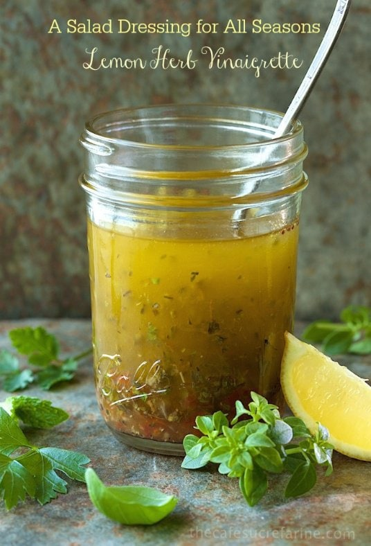 This Lemon Herb Vinaigrette is my go-to salad dressing. You will always find a jar in my fridge as it goes with a zillion different salads. #easysaladdressing, #bestsaladdressing, #lemonsaladdressing, #lemonvinaigrette