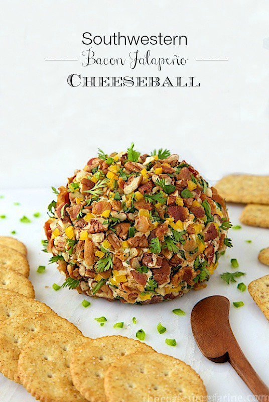 Southwestern Bacon Jalapeño Cheeseball - oh my word, with bacon, cheese, jalapeños and peppers, it's loaded with fabulous flavor!