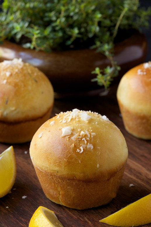 Lemon Thyme Brioche Rolls, a taste of summer peeking out of your bread basket!