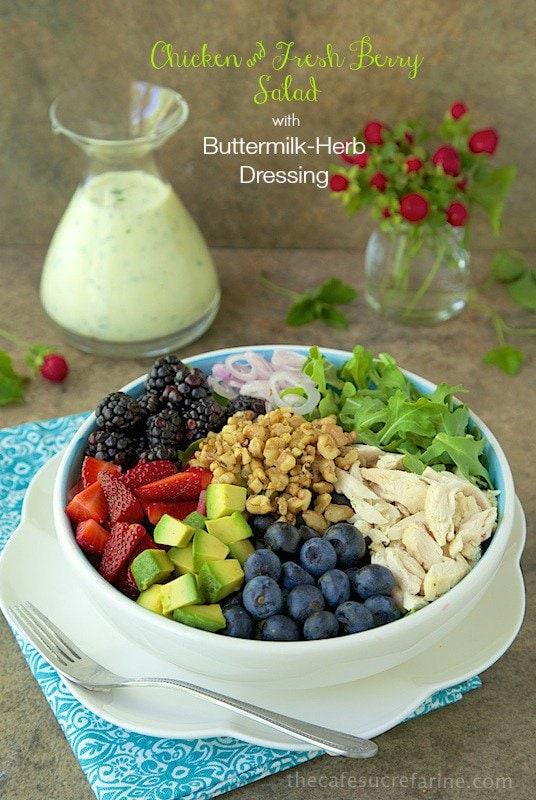 Chicken and Fresh Berry Salad w/ Buttermilk-Herb Dressing - a delightful, summery salad!