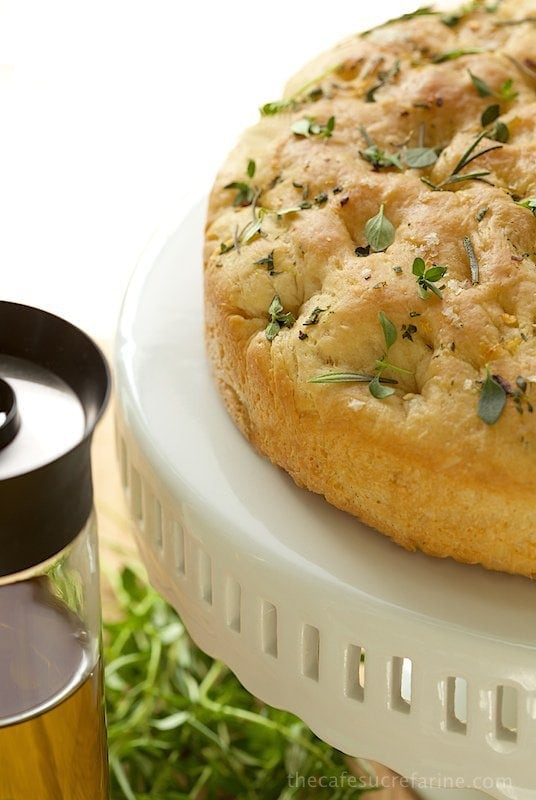 Lemon, Rosemary & Thyme Focaccia, an Italian inspired flat bread with a tender crumb and out-of-this-world-flavor!