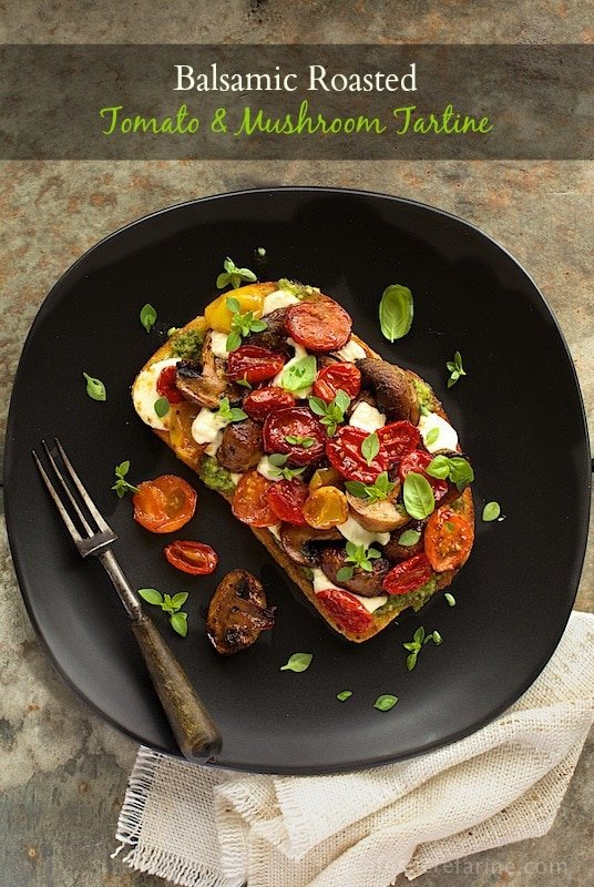 Balsamic Roasted Tomato & Mushroom Tartine - fabulous for lunch, brunch or even a casual dinner entree w/ amazing flavor bursting in every bite!
