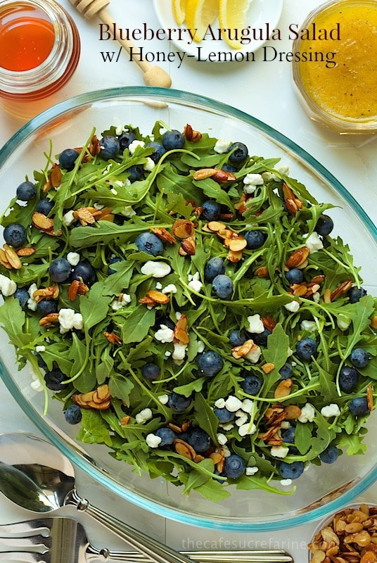 Blueberry Arugula Salad with Honey Lemon Dressing - everyone goes crazy over this simple, fresh salad. thecafesucrefarine.com