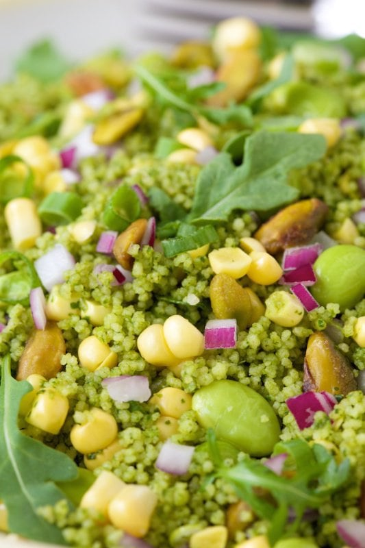 Green on Green Couscous Salad. Healthy, fresh and delicious!