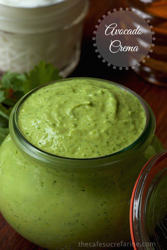 Avocado Crema. A delicious, fresh, healthy condiment made with fresh avocado and Greek yogurt.