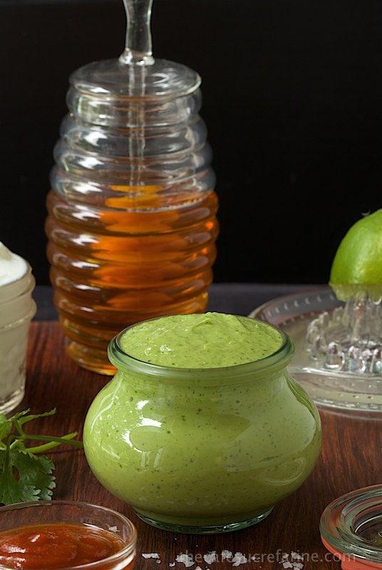Avocado Crema. A delicious, fresh, healthy condiment made with fresh avocado and Greek yogurt.