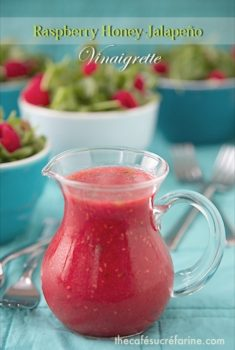 Raspberry Honey Jalapeño Vinaigrette; it's sweet and spicy and super delicious!