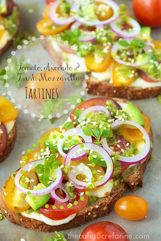 Tomato, Avocado and Fresh Mozzarella Tartines