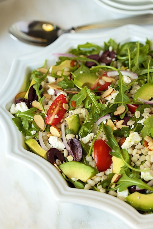 Greek-Style Avocado and Barley Salad. A super healthy, fresh and delicious salad.