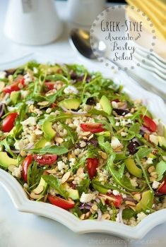 Greek-Style Avocado and Barley Salad. It's fresh, healthy and super delicious.