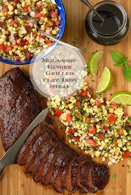 Molasses-Ginger Grilled Flat Iron Steak - These steaks are perfect for marinating and are great on the grill. Add this molasses-ginger marinade/glaze. Wow!
