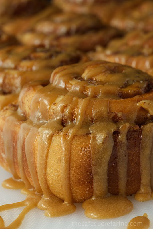 Closeup side photo of a pan of Easy Cinnamon Rolls with Caramel Icing.