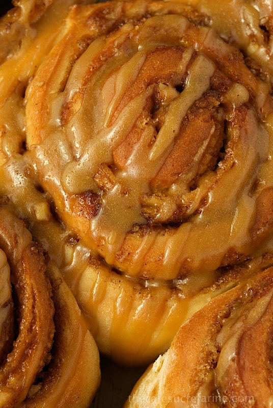 Overhead closeup photo of an Easy Cinnamon Roll with Caramel Icing.