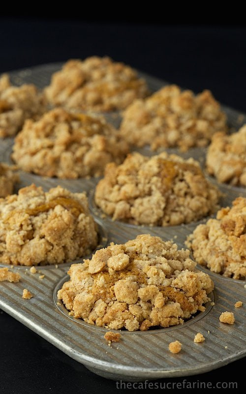 Pumpkin Crumb Muffins - these delicious muffins are super moist and full of delicious warm-spiced flavor. The buttery, crumb topping is the crème de la crème!