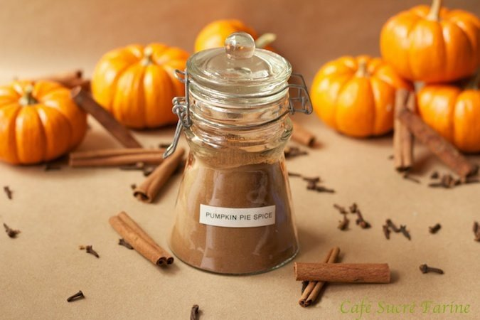 Horizontal picture of Pumpkin Pie Spice Pumpkin Pie Spice in a glass jar with cinnamon sticks and pumpkins in the background