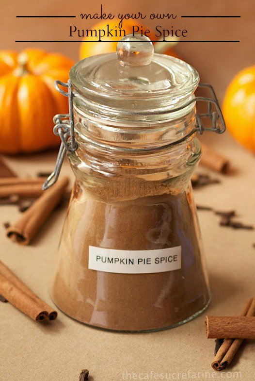 A vertical photo of a jar of Make Your Own Pumpkin Pie Spice with sticks of cinnamon in the foreground and pumpkins in the background. A graphic title is at the top of the photo.