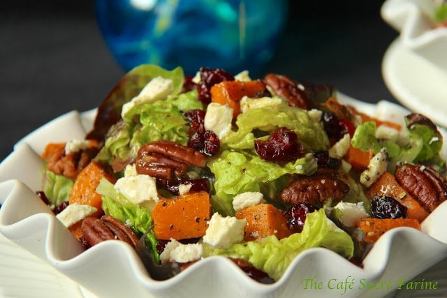 Roasted Sweet Potato Salad with Honey-Cumin Vinaigrette. This salad is perfect for your most fancy-dancy guests though your family and friends will be quite smitten with the delightful combination of sweet, salty, creamy, crunchy, smoky, fresh and vibrant .................... get ready for rave review