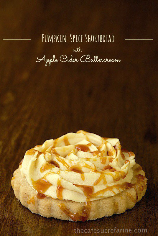 Pumpkin-Spiced Shortbread with Apple Cider Buttercream - crisp, buttery shortbread topped with a bright, fresh buttercream flavored with reduced apple cider.
