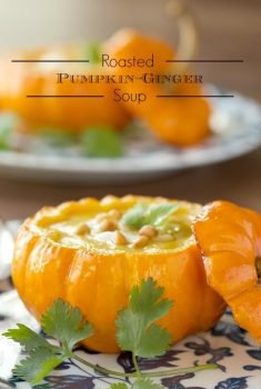 Roasted Pumpkin Ginger Soup - A delicious Asian-inspired soup that's super flavorful and loaded with lots of healthy veggies.