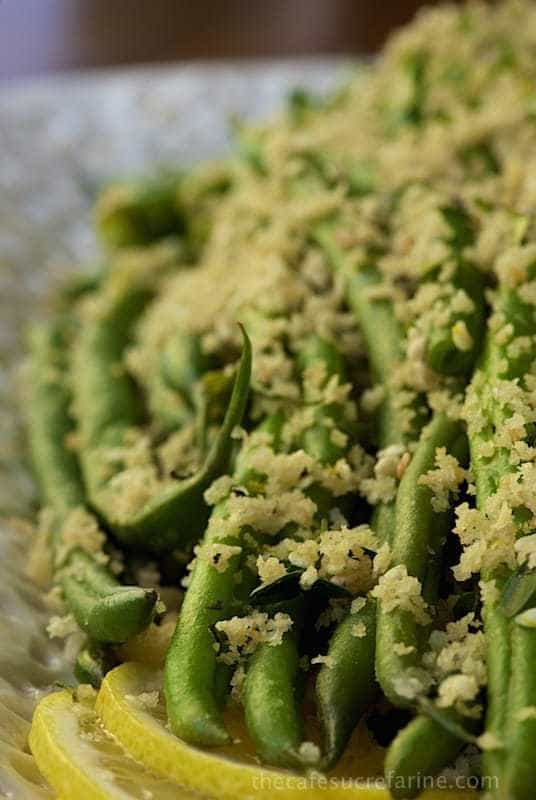 Make Ahead Green Beans with Lemon Herb Panko Crumbs - fresh, tender beans with a crisp, buttery topping.